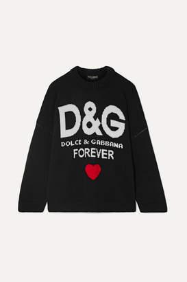 Dolce & Gabbana Oversized Intarsia Cashmere Sweater - Black