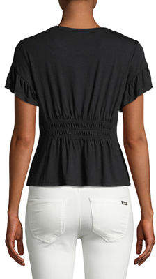 Romeo & Juliet Couture Short-Sleeve Smocked-Waist Tee