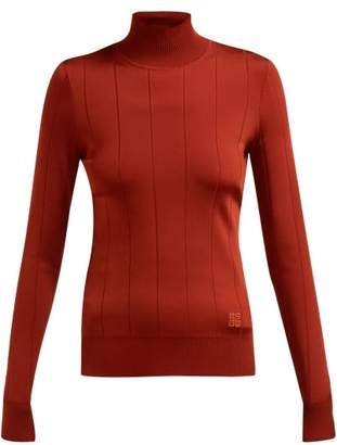 Givenchy High Neck Stretch Knit Top - Womens - Dark Red