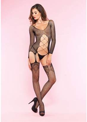 Leg Avenue Women's Industrial Net Long Sleeve Bodystocking With Cut Out Body, Black, One Size