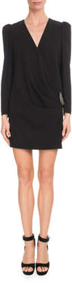 Givenchy Long-Sleeve Draped-Front Crepe Dress w/ Brooch Detail