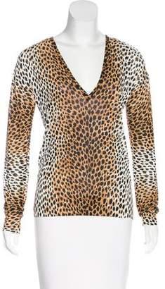 Dolce & Gabbana Leopard Pattern V-Neck Sweater