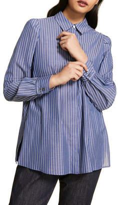 Marina Rinaldi Plus Size Striped Cotton Poplin Long-Sleeve Shirt