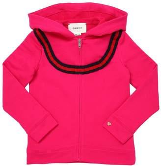 Gucci Hooded Cotton Sweatshirt W/ Ribbon Trim