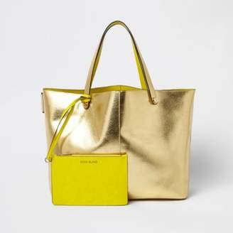 River Island Womens Gold metallic beach tote bag