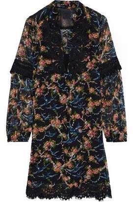 Anna Sui Guipure Lace-trimmed Printed Fil Coupe Silk-blend Mini Dress