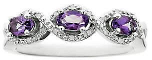 QVC Sterling Silver Three-Stone Gemstone & DiamondAccent Ring