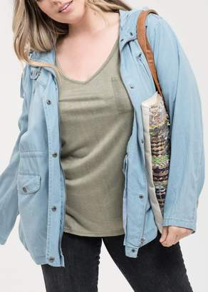 Blu Pepper Perch by Chambray Hooded Jacket (Plus Size)