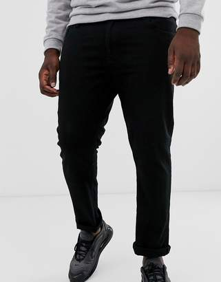 Burton Menswear Big & Tall trousers in black with white side stripe