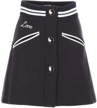 Miu Miu Wool And Leather Skirt