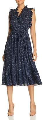 Kate Spade Sleeveless Floral-Trim Faux-Wrap Dress