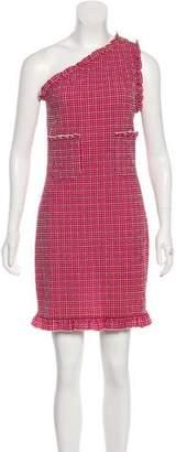 Chanel Seersucker One-Shoulder Dress