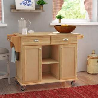August Grove Lili Kitchen Island with Wood Top August Grove