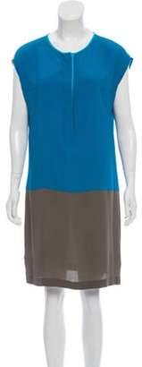 Akris Punto Silk Belted Dress Blue Silk Belted Dress
