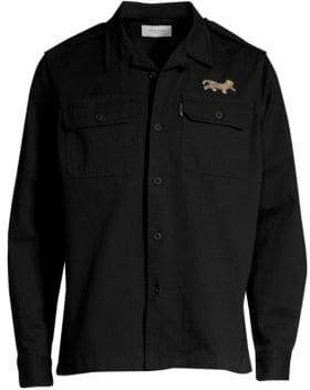 Ovadia & Sons Long-Sleeve Cheetah-Embroidered Military Shirt