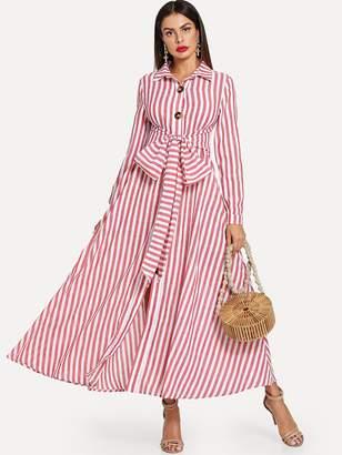 6b840d482197 Shein Tie Waist Striped Shirt Dress