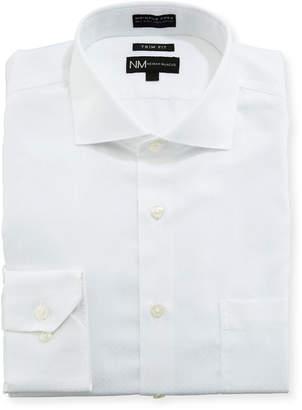 Neiman Marcus Trim Fit Non-Iron Textured Dobby Dress Shirt, White