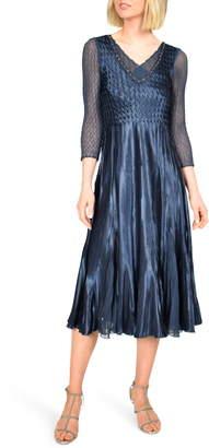 Komarov Embellished Charmeuse Midi Dress