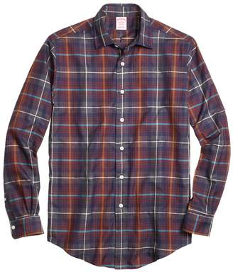 Brooks Brothers Madison Fit Brown Heathered Plaid Sport Shirt