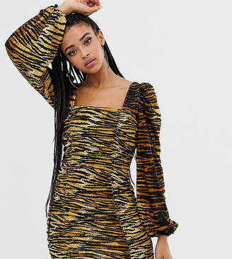 8a7dce503af Collusion COLLUSION tiger print ruched dress