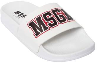 MSGM Logo Print Rubber Slide Sandals