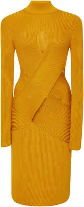 Roberto Cavalli Cutout Ribbed Wool-Blend Mini Dress