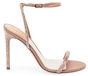Rene Caovilla Women's Crystal Embellished Strappy Satin Stiletto Sandals