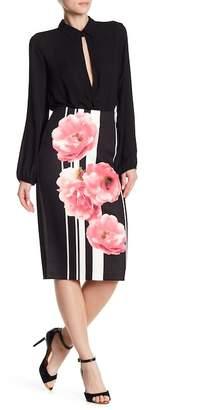 ECI Floral Stripe Midi Skirt