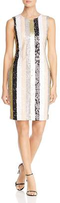 Calvin Klein Striped Sequin Shift Dress
