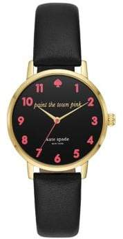 Kate Spade Metro Three-Hand Leather-Strap Watch