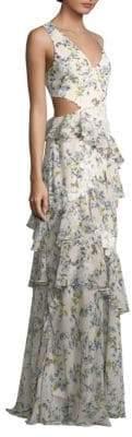 BCBGMAXAZRIA Asymmetric Ruffle Floral Gown