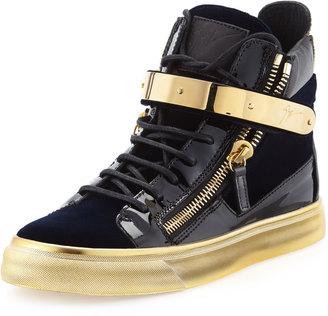 Giuseppe Zanotti Velvet High-Top Side-Zip Sneaker, Navy $589 thestylecure.com