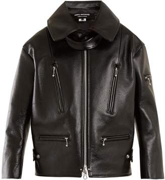Grained-leather jacket
