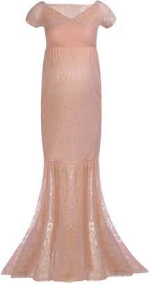 IBTOM CASTLE Women's Off Shoulder V Neck Short Sleeve Lace Maternity Gown Maxi Photography Dress M