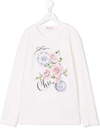 MonnaLisa TEEN rose print T-shirt