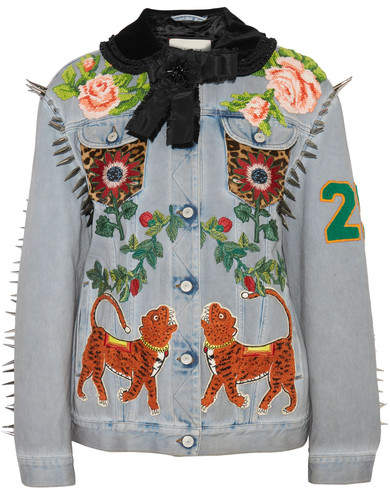 Gucci Calf Hair-paneled Embellished Denim Jacket - Light denim