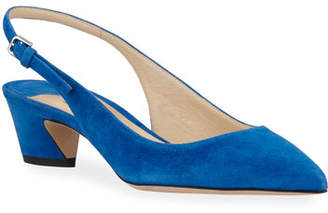 Jimmy Choo Gemma Low-Heel Suede Slingback Pumps