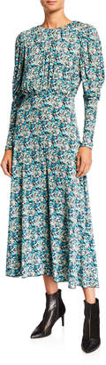 Rotate by Birger Christensen Number 57 Printed Long-Sleeve Open-Back Dress