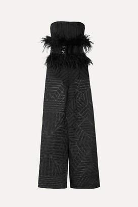 9effab3b59ff SemSem - Feather And Sequin-embellished Devoré-organza Jumpsuit - Black