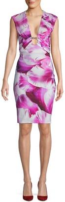 Roberto Cavalli Petal-Print Sheath Dress