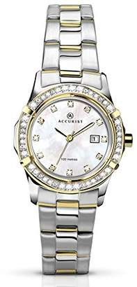Accurist Women's Quartz Watch with Mother of Pearl Dial Analogue Display and Two Tone Gold Plated Stainless Steel Bracelet 8070.01