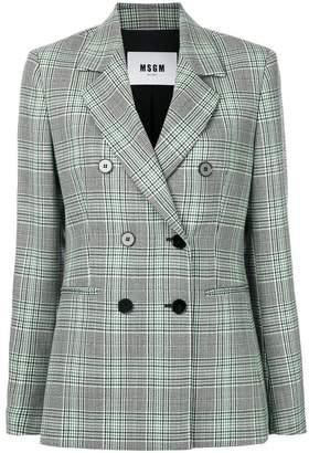 MSGM check double-breasted blazer