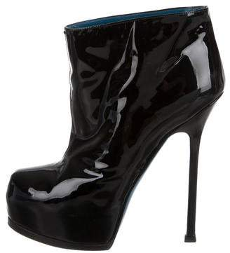 Saint Laurent Patent Leather Platform Booties