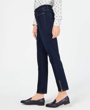 Charter Club Zipper-Cuff Dark Wash Skinny Jeans, Created for Macy's