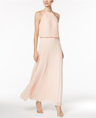 MSK Pleated Necklace Halter Maxi Gown $129 thestylecure.com