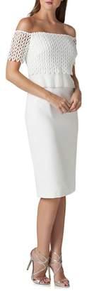 Kay Unger Off the Shoulder Lace Sheath Dress