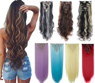 styling/ DODOING 8Pcs 18 Clips 17-26 inch Curly Straight Full Head Clip in on Hair Extensions Women Lady Hairpiece, Dark Brown to Ginger Brown