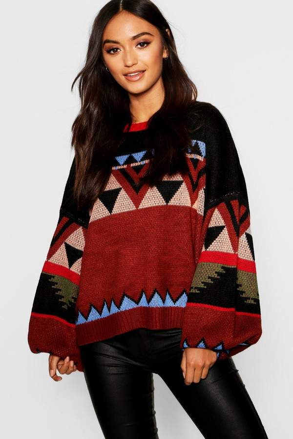 Petite Aztec Knitted Balloon Sleeve Box Jumper