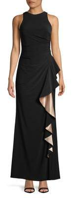 Betsy & Adam Cascading Ruffle Accent Gown