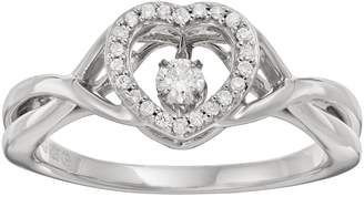 Brilliance+ Brilliance In Motion Brilliance in Motion 1/8 Carat T.W. Diamond Sterling Silver Heart Halo Ring